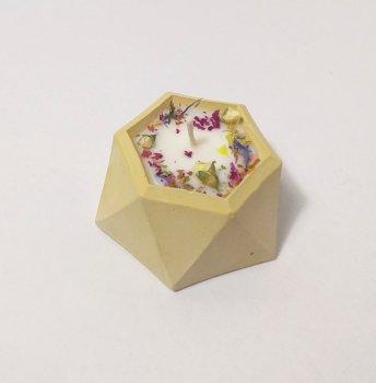 Свічка ручної роботи в гіпсовому підсвічнику Iren Osadcha Аромат лісових квітів 15 г