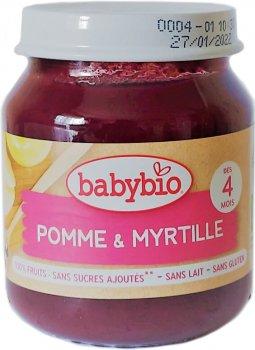 Упаковка дитячого пюре Babybio Органічного з яблука та чорниці з 4 місяців 130 г х 2 шт. (3288131510743)