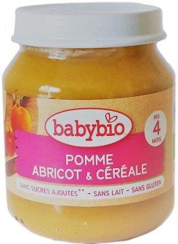 Упаковка дитячого пюре Babybio Органічного з яблука, абрикоси та злаків з 4 місяців 130 г х 2 шт. (3288131510736)