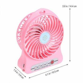 Портативный мини вентилятор USB с аккумулятором. Настольный вентилятор с зарядкой. Цвет розовый