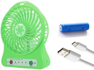 Портативный USB мини вентилятор с аккумулятором, настольный вентилятор с зарядкой. Цвет салатовый
