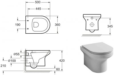 Унітаз підвісний PRIMERA Ring 8320026 безобідковий із сидінням Soft Close дюропласт