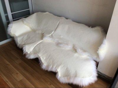 Килим Легит з 2-х овечих шкур 2,1 х 0,7 білий (КО01)