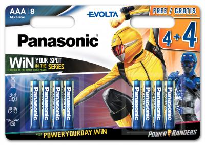 Батарейки Panasonic Evolta щелочные AAA блистер, 8 шт Power Rangers (LR03EGE/8B4FPR)