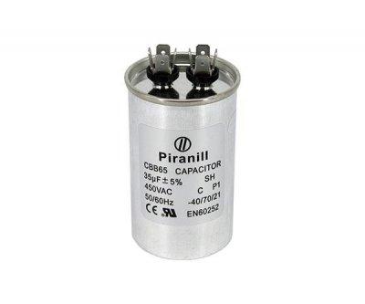 Конденсатор пуско-робочий CBB65 35 мкФ 450В (35uF 450V) в металі (Piranil)