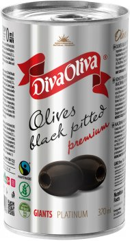 Маслины чёрные Diva Oliva Platinum Гигант без косточки 370 мл (5060235659553)