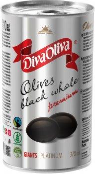 Маслины чёрные Diva Oliva Platinum Гигант с косточкой 370 мл (5060235659539)