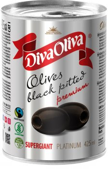 Маслины чёрные Diva Oliva Platinum Супергигант без косточки 425 мл (5060162903873)
