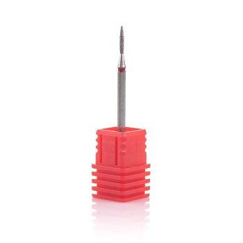 Фреза алмазна Nail Drill для обробки кутикули (Полум'я), 243 014R, діаметр 1,4 мм (червона насічка)