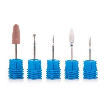 Фрези алмазні Nail Drill набір 5 шт. для щільної кутикули (синя насічка)