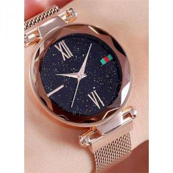 Женские наручные часы водонепроницаемые на магнитной застёжке Geneva Starry Sky Cuprum-Black Shine + магнитный браслет