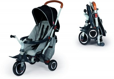 Детский металлический велосипед Smoby Toys Робин складывающийся 3 в 1 Серый (741300) (3032167413000)