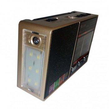 Радиоприемник GOLON 8866 с поддержкой mp3 и встроенный фонарик Золотистый (11246)