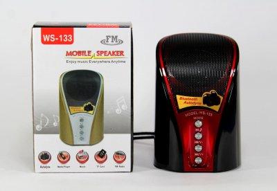 Портативна колонка Wster WS-133 з Bluetooth, FM радіо, підтримкою карт TF вбудований програвач Чорна (11065)