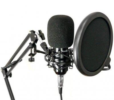 Професійний студійний конденсаторний мікрофон зі стійкою і фільтром вітрозахистом Music D. J. M800 PRO Black-Gold