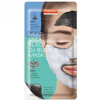 Двухкомпонентная очищающая кислородная маска EYENLIP Purederm Multi-Area Black O2 Bubble Mask