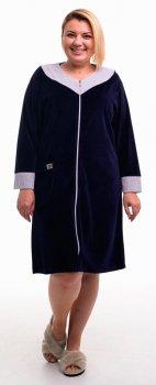 Халат женский Bonita ТМ Бонита, велюровый, темно-синий с серым (Н064)
