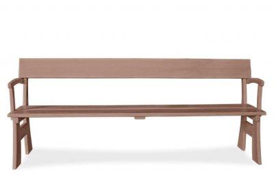 Скамья со спинкой деревянная для сада 1400х535х820мм, коричневая (ТKHV1400х820LM3)
