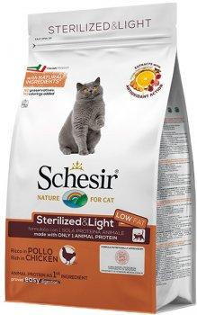 Сухой монопротеиновый корм Schesir Cat Sterilized&Light для взрослых стерилизованных котов склонных к полноте с курицей