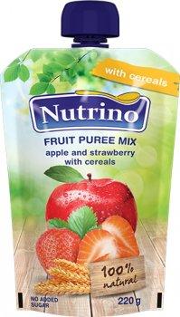 Упаковка фруктового пюре Nutrino мікс з яблука, полуниці та злаків 220 г х 6 шт. (8606019657567)