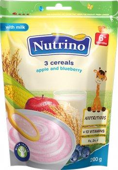 Молочна каша Nutrino 3 злаки з яблуком і чорницею з 6 місяців 200 г (8606019652746)
