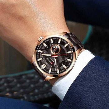 Наручний годинник AlexMosh чоловічі Curren Brown-Cuprum (1032)