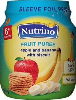 Упаковка фруктового пюре Nutrino з яблук, бананів і печива 125 г х 6 шт. (8606019657338)