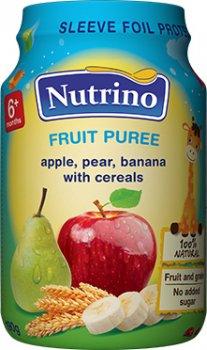 Упаковка фруктового пюре Nutrino з яблук, груш, бананів і злаків 190 г х 6 шт. (8606019657369)