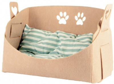 Лежанка-корзина з подушкою для собак і кішок Форт Нокс FX Home Eco 54х25х33 см Бежевий (2820000011954)
