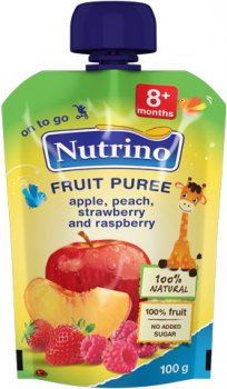 Упаковка фруктового пюре Nutrino з яблука, персика, полуниці та малини з 8 місяців 100 г х 6 шт. (8606019657499)