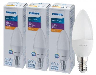 Светодиодная лампа Philips LEDCandle 6-60W E14 827 B35NDFR RCA (929002273637R) 3 шт.