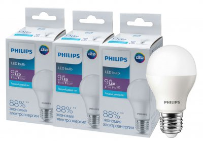 Світлодіодна лампа Philips Ecohome LED Bulb 9 W E27 6500 K 1PF/20RCA (929002299467R) 3 шт.