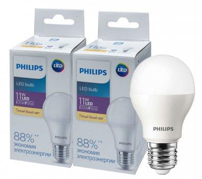 Світлодіодна лампа Philips Ecohome LED Bulb 11 W E27 3000 K 1PF/20RCA (929002299567R) 2 шт.
