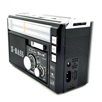 Портативный FM радиоприемник радио колонка с USB выходом и фонариком аккумуляторный GOLON RX-381UAR FM AM Black (RT155)