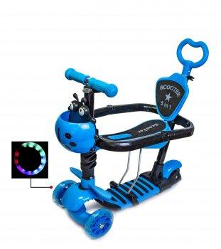 Самокат дитячий Scale Sports Kinder з сидінням і батьківською ручкою Божа корівка блакитний