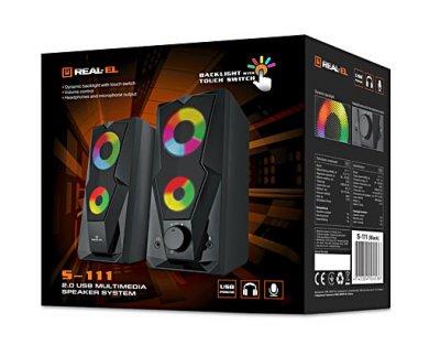 Колонки REAL-EL S-111 black (з динамічною підсвічуванням)