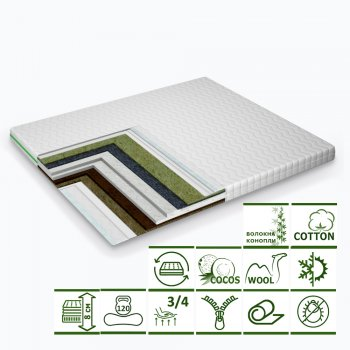 Тонкий матрас-топпер Green Streem Dream Cocos 150х200 см (02022020-25-16) (2020251502007)