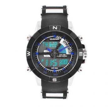 Спортивні водонепроникні наручний годинник QUAMER 1104, з каучуковим ремінцем. В подарунковій упаковці