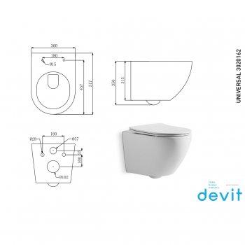Унитаз подвесной DEVIT Universal безободковый с сиденьем Soft Close Quick-Fix дюропласт (3020162)
