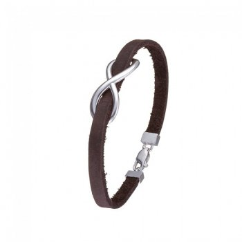Кожаный Браслет Jewel-case Коричневого цвета с серебряной вставкой Бесконечность 4404-Ko 20.0
