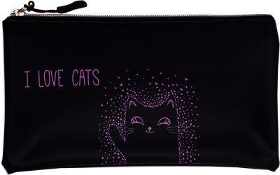 Пенал ZiBi Я люблю котиков плоский Черный (ZB.703201) (4823078971685)