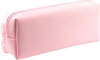 Пенал пушистый с аппликацией и помпонами Cool For School 2 отделения Розовый (6556-pink)