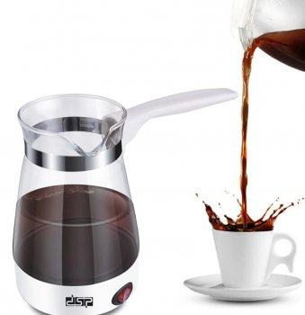 Электрическая турка для кофе кофеварка электротурка стеклянная 700мл DSP KA-3037 600W Белая