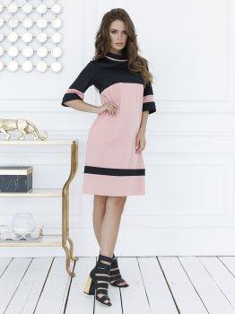 Плаття ISSA PLUS SA_11 Чорне з рожевим