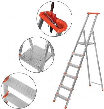 Лестница из 6 ступеней + лоток Kanat Aluminyum Eco KAM-205 Red