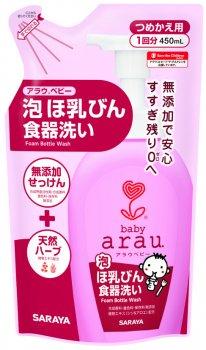 Гипоаллергенная жидкость для мытья детских бутылочек Arau Baby 450 мл наполнитель (4973512258206)
