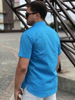 Рубашка ZIBSTUDIO хлопок бирюза Голубая