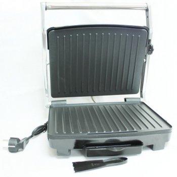 Гриль прижимной с терморегулятором электрический Crownberg (CB-1067) Серебристо-чёрный