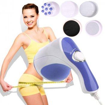 Массажер для тела RELAX&SPIN Tone Релакс-н-Тон вибромассажер для похудения 5 насадок, Белый / Фиолетовый