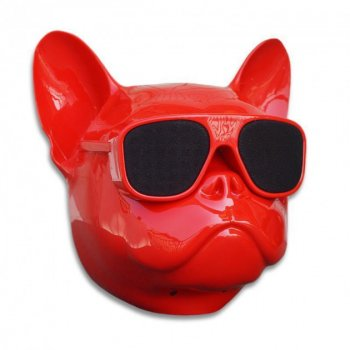 Портативна Bluetooth колонка Metr plus собака голова Бульдог Dog Red (Ц-000044705)